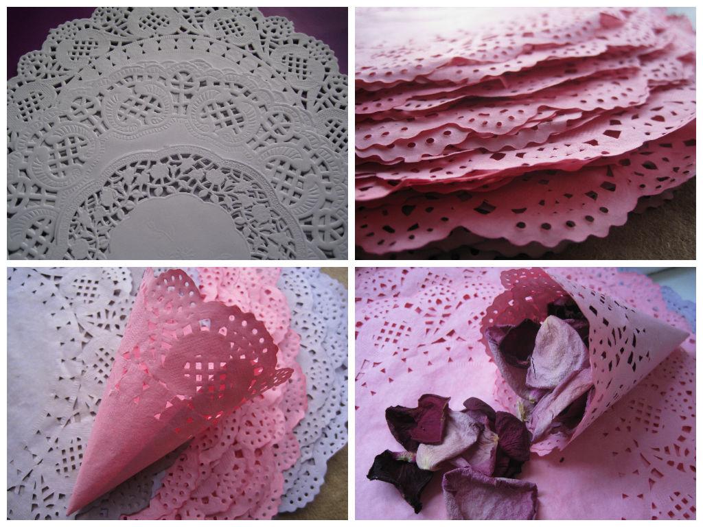 лепестки роз в конусах из салфеток