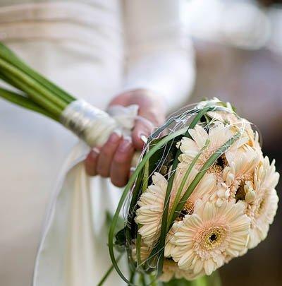 Свадебный букет из кремовых гербер