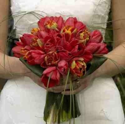 Букет невесты из красных тюльпанов