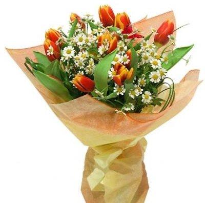 Ромашки и тюльпаны