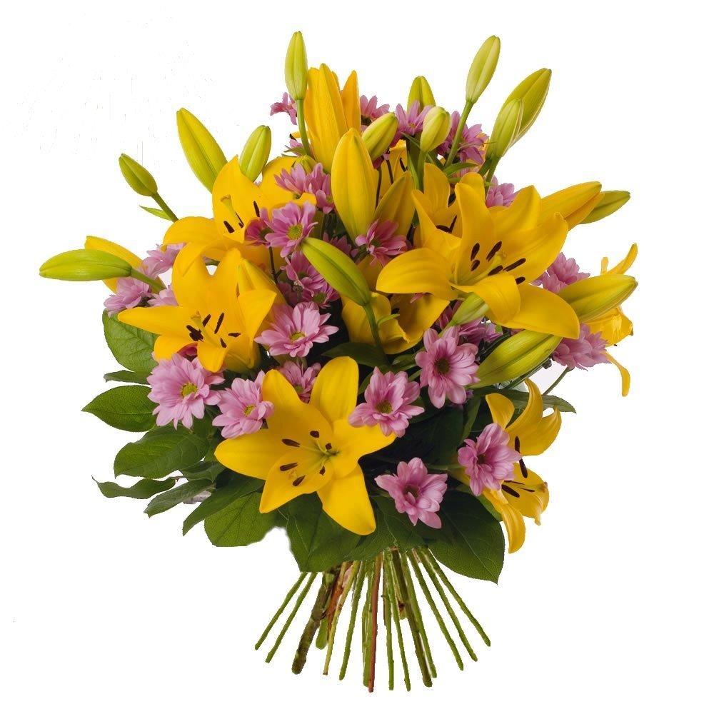 Желтые лилии с хризантемой