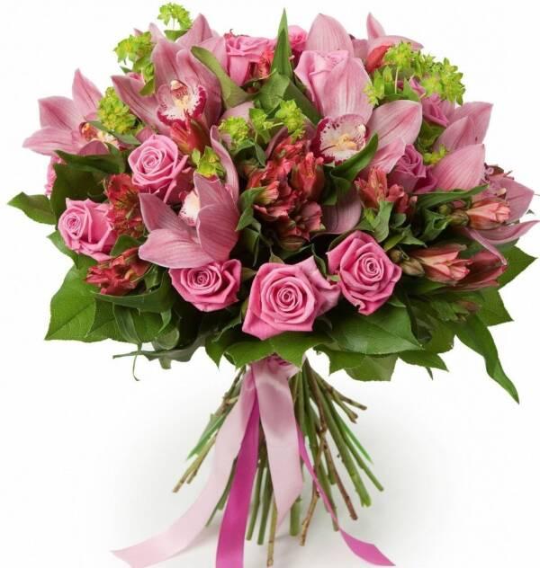 Розовый букет орхидей и альстромерий