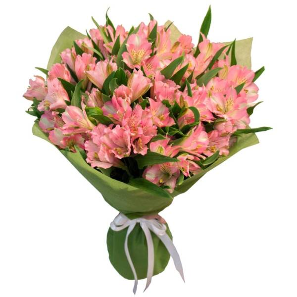 25 розовых альстромерий