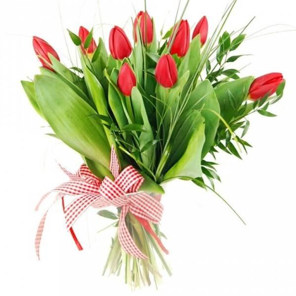 9 тюльпанов и эвкалипт