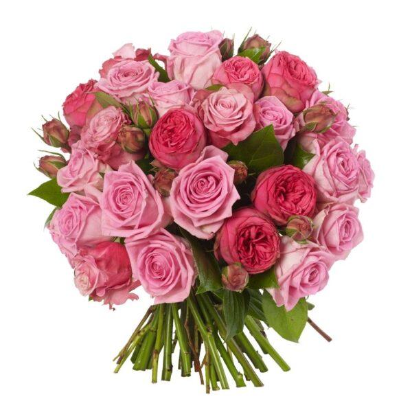 45 роз - микс с пионовидными, 60 см