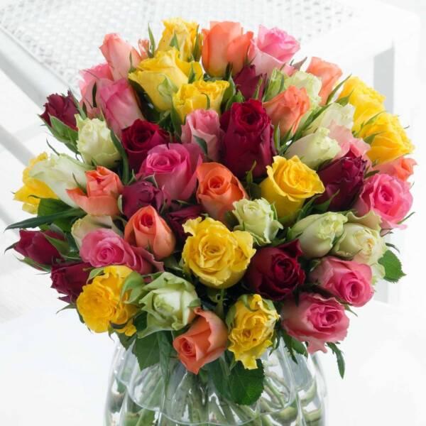 51 разноцветная роза 40 см