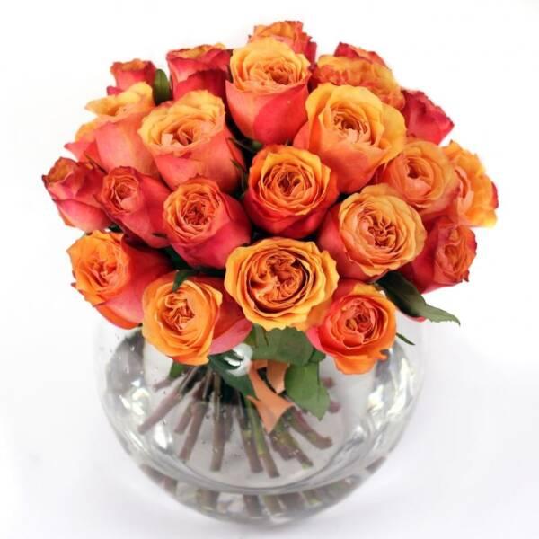 Осенний букет оранжевых роз